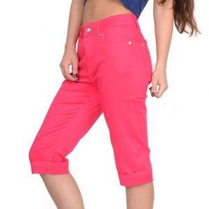 Long denim pink shorts